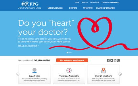 Screenshot of Home Page fpg-florida.com - Family Physicians Group Florida | Expert Medical Care - captured Oct. 5, 2014