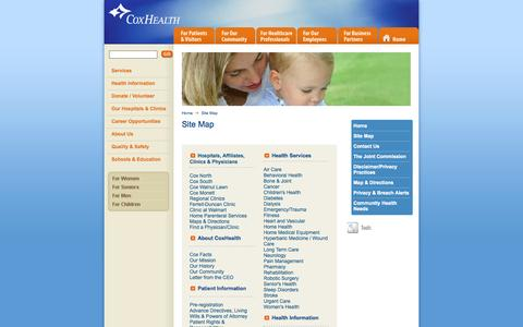 Screenshot of Site Map Page coxhealth.com - Site Map - captured Oct. 30, 2014