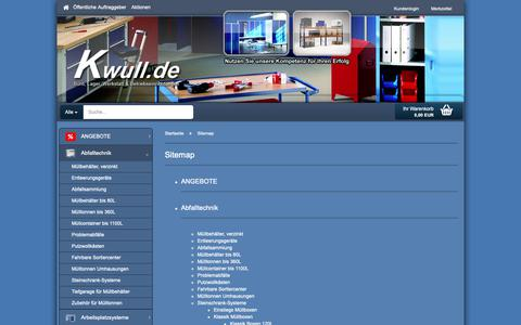 Screenshot of Site Map Page kwull.de - Kwull GmbH   Profi für Betriebseinrichtungen - Sitemap - captured Oct. 16, 2018