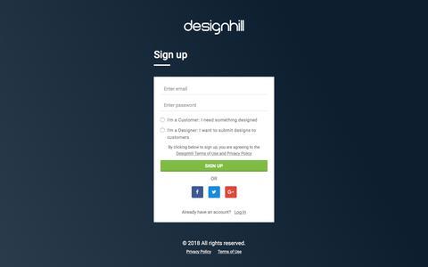 Screenshot of Signup Page designhill.com - Register a New Account    Designhill - captured Aug. 6, 2018