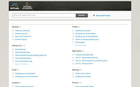 Screenshot of Support Page alltrails.com - Solutions : AllTrails - captured Sept. 13, 2014