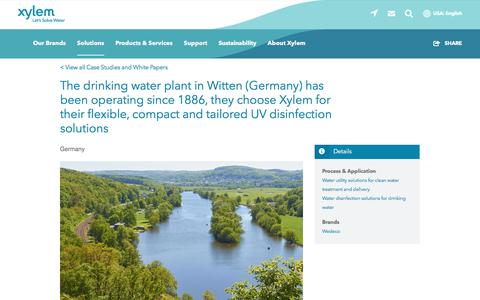 Screenshot of Case Studies Page xylem.com - The drinking water plant in Witten (Germany) has been operating since 1886, they choose Xylem for their flexible, compact and tailored UV disinfection solutions   Xylem US - captured Nov. 9, 2019