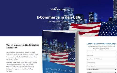 Screenshot of Landing Page webinterpret.com - E-Commerce in den USA - captured March 27, 2018