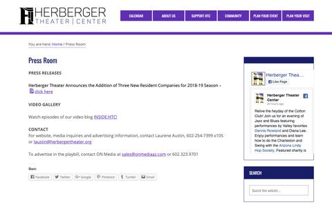 Screenshot of Press Page herbergertheater.org - Press Room – Herberger Theater Center - captured Sept. 28, 2018