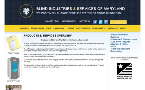 Screenshot of Products Page bism.org - Blind Industries and Services of Maryland - Products & Services - captured Nov. 22, 2016