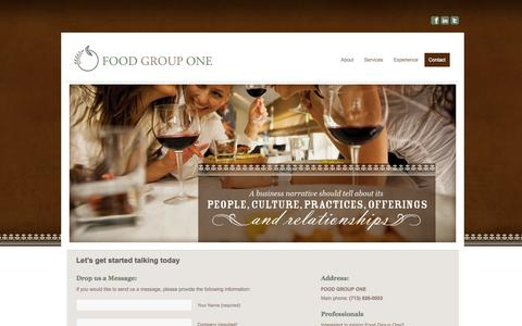 Screenshot of Contact Page foodgroupone.com - Contact Food Group One - Houston Food Marketing Agency - captured Sept. 30, 2014