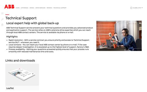 Screenshot of Support Page abb.com - Technical Support - Repairs for drives (ABB drive services) - captured Nov. 9, 2019