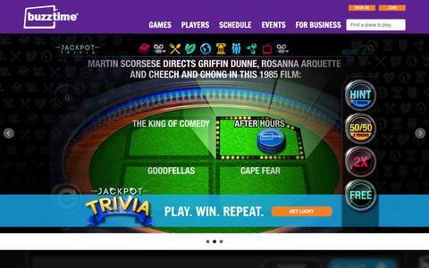 Screenshot of Home Page buzztime.com - Buzztime | Bar Trivia, Live Trivia, Cards & Sports Games - captured Jan. 14, 2016