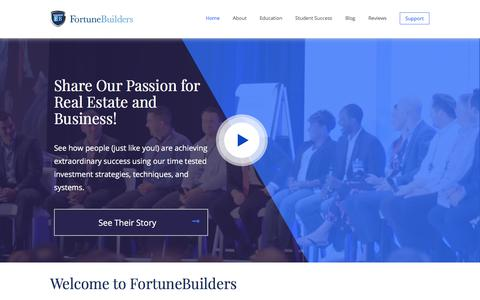 Screenshot of Home Page fortunebuilders.com - Real Estate Investment Coaching Programs   FortuneBuilders - captured Aug. 14, 2018