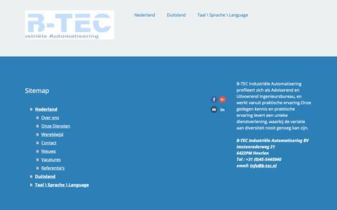 Screenshot of Site Map Page jimdo.com - Sitemap - De website van b-tec-industrie! - captured Sept. 27, 2018