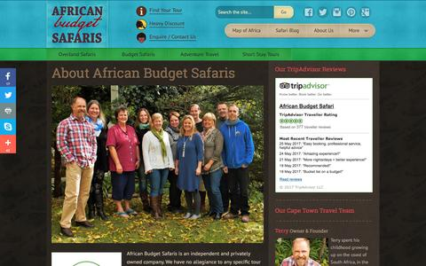 Screenshot of About Page africanbudgetsafaris.com - About African Budget Safaris - no.1 for Budget Travel in Africa - captured May 29, 2017