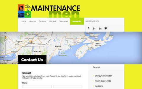 Screenshot of Contact Page maintenancemen.com - Contact Us - Maintenance Men | Maintenance Men - captured Sept. 26, 2014