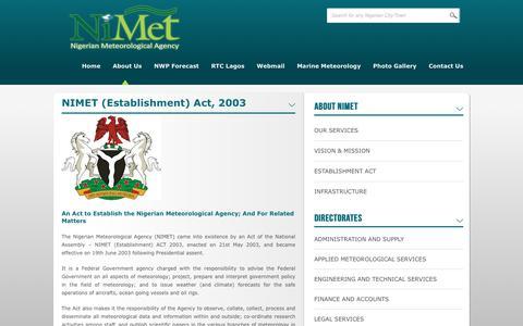 Screenshot of About Page nimet.gov.ng - NIMET (Establishment) Act, 2003 | Nigerian Meteorological Agency - captured Oct. 19, 2018