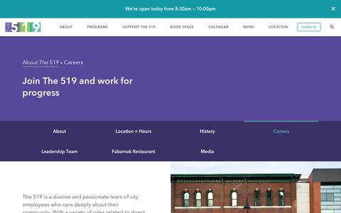 Screenshot of Jobs Page the519.org - Careers at The 519 - The519 - captured Feb. 17, 2016