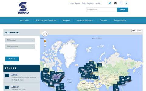 Screenshot of Locations Page sonoco.com - Locations - Sonoco - captured Sept. 23, 2014