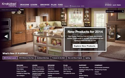 Screenshot of Home Page kraftmaid.com - KraftMaid® Kitchen and Bathroom Cabinetry - It Becomes You™. - captured Sept. 19, 2014