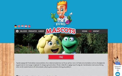 Screenshot of FAQ Page euromascots.dk - FAQ om maskot produktion | Euromascots - captured July 5, 2017