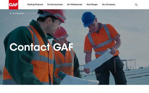 Screenshot of Contact Page gaf.com - GAF | Contact GAF - captured April 18, 2018