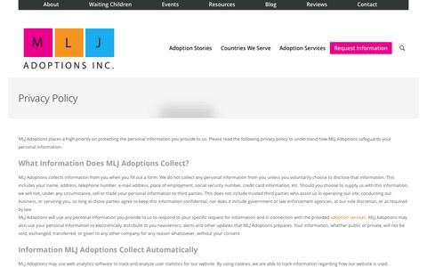 Screenshot of Privacy Page mljadoptions.com - Privacy Policy | International Adoption Agency | Indiana LCPA  » - captured Sept. 30, 2014