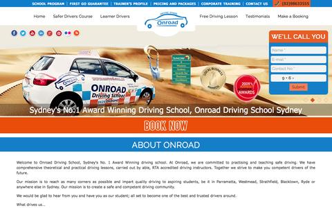 Screenshot of About Page onroad.com.au - About Onroad | Onroad Driving School Sydney, Driving Lessons, Driving Instructors - captured Oct. 22, 2015
