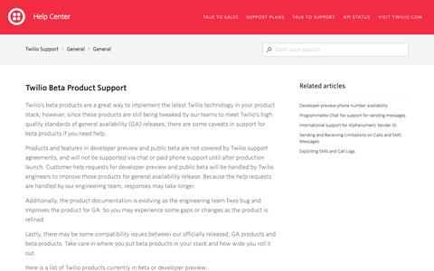 Screenshot of Support Page twilio.com - Twilio Beta Product Support – Twilio Support - captured June 13, 2019