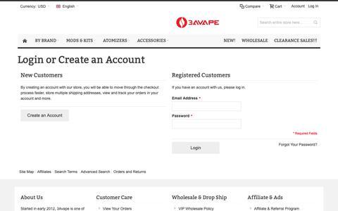 Screenshot of Login Page 3avape.com - √ Customer Login - captured Oct. 21, 2018