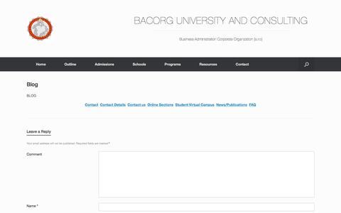 Screenshot of Blog bacorg.com - Blog | BACORG UNIVERSITY AND CONSULTING - captured Jan. 7, 2016