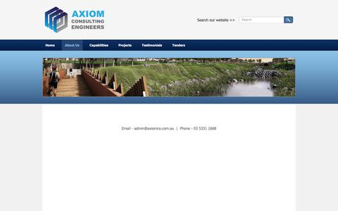 Screenshot of About Page axiomce.com.au - About Us - Axiom Consulting Engineers - Civil Engineers and Town Planners | Victoria | Queensland | Australia - captured Nov. 5, 2018