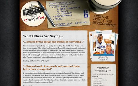Screenshot of Testimonials Page stoutdesign.com - Testimonials | Atlanta, GA | Stout Design - captured Oct. 7, 2014