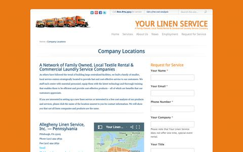 Screenshot of Locations Page yourlinenservice.com - Company Locations | Your Linen Service - captured Oct. 19, 2018