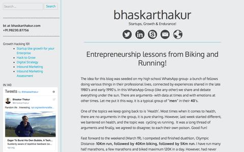 Screenshot of Blog bhaskarthakur.com - Bhaskar Thakur | Startups, Growth Hacking and Entrepreneurship - captured Oct. 11, 2017