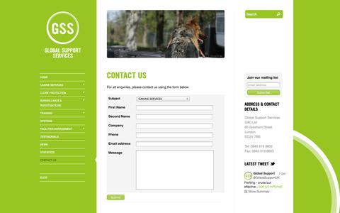 Screenshot of Contact Page global-support.org - Contact Us |  Global Support Services - captured Oct. 8, 2014