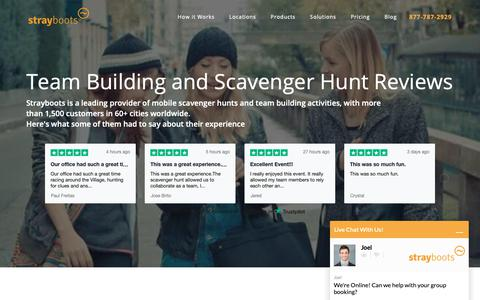 Screenshot of Testimonials Page strayboots.com - Team Building and Scavenger Hunt Reviews   Strayboots - captured Oct. 19, 2018