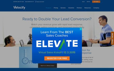 Screenshot of Products Page velocify.com - Sales Productivity and Sales Automation Software | Velocify - captured Nov. 20, 2015