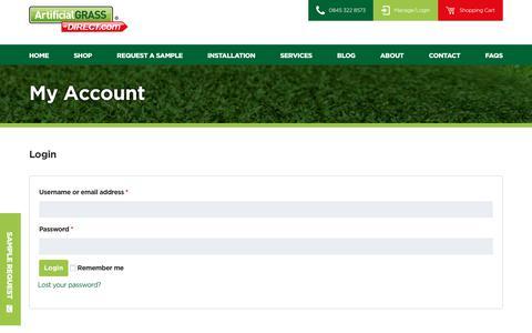 Screenshot of Login Page artificialgrass-direct.com - My Account - Artificial Grass Direct - captured Oct. 8, 2017