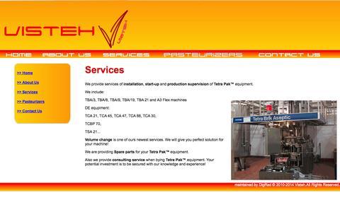 Screenshot of Services Page visteh.com - Visteh Services - captured Oct. 26, 2014