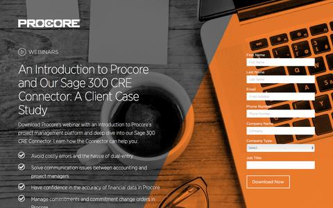 Screenshot of Landing Page procore.com - An Introduction to Procore and Our Sage 300 CRE Connector: A Client Case Study - captured March 15, 2016
