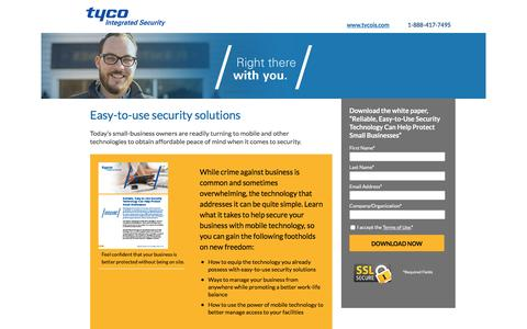 Screenshot of Landing Page tycois.com - Tyco Integrated Security - captured Dec. 13, 2016