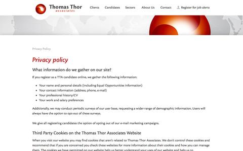 Screenshot of Privacy Page thomas-thor.com - Privacy policy - Thomas Thor - captured Oct. 9, 2014