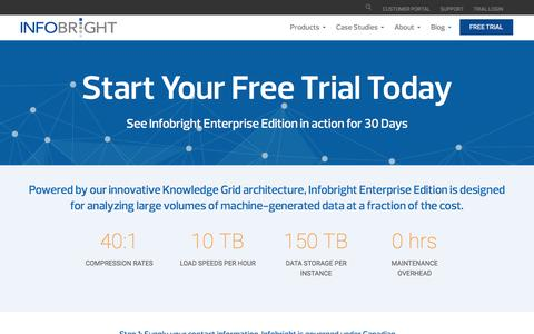 Screenshot of Trial Page infobright.com - Start Your Free Trial Today - Infobright - captured July 3, 2016