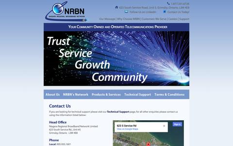 Screenshot of Contact Page nrbn.ca - NOC Specialist, GIS Field Operations, Construction Coordinator, Network Specialist | NRBN, Niagara Region - captured Oct. 6, 2014