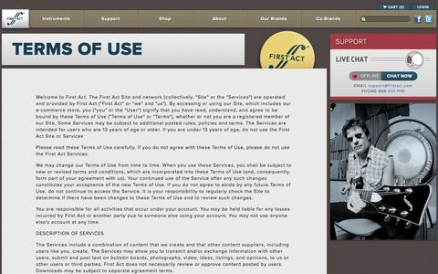 Screenshot of Terms Page firstact.com - Terms of Use | First Act Musical Instruments - captured Oct. 6, 2014