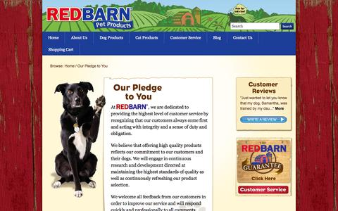 Screenshot of Support Page redbarninc.com - Our Pledge to You - RedBarn Pet Treats and Food - captured Oct. 26, 2014