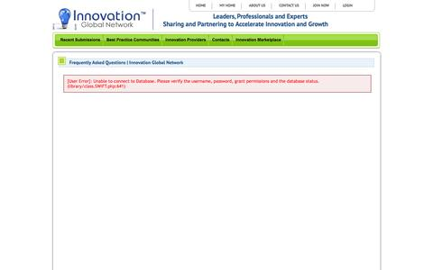 Screenshot of FAQ Page innovationglobalnetwork.com - Frequently Asked Questions   Innovation Global Network   Innovation Global Network - captured Oct. 29, 2014