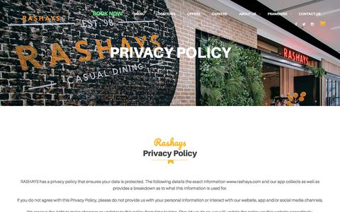 Screenshot of Privacy Page rashays.com - Our Privacy Policy - The Best In Casual Dining | RASHAYS - captured May 9, 2018