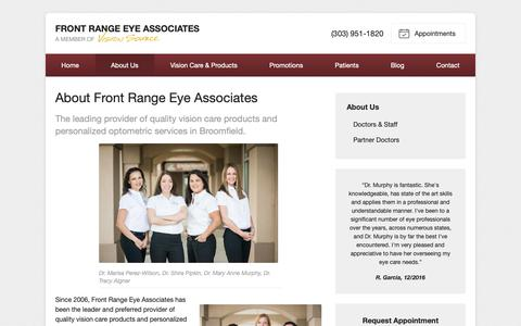 Screenshot of About Page visionsource-frea.com - About Front Range Eye Associates in Broomfield CO - captured Oct. 11, 2018