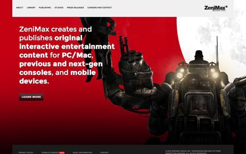 Screenshot of Home Page zenimax.com - ZeniMax Media Inc - captured Dec. 3, 2015