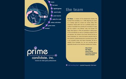 Screenshot of Team Page primecandidateinc.com - Prime Candidate, Inc - Careers for video game professionals - captured Sept. 30, 2014