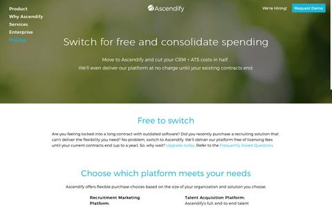 Screenshot of Pricing Page ascendify.com - Talent Acquisition Pricing - Talent Acquisition | Ascendify - captured May 9, 2017