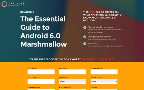 Screenshot of Landing Page applause.com - The Essential Guide to Android 6.0 Marshmallow - Applause: 360° App Quality - captured March 17, 2016
